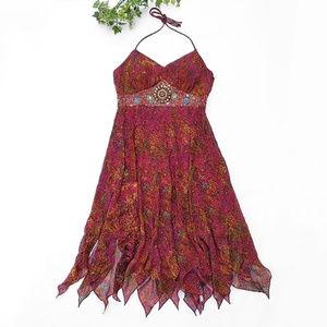 Sue Wong Silk Beaded Embellished Boho Halter Dress
